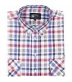 Bawełniana koszula męska w kratkę Mr.Unique krótki rękaw 044