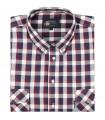Bawełniana koszula męska w kratkę Mr.Unique krótki rękaw 045