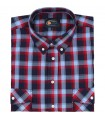 Bawełniana koszula męska w kratkę Mr.Unique krótki rękaw 047