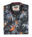 grafitowa koszula hawajska w palmy i liście, marki Duke z krótkim rękawem
