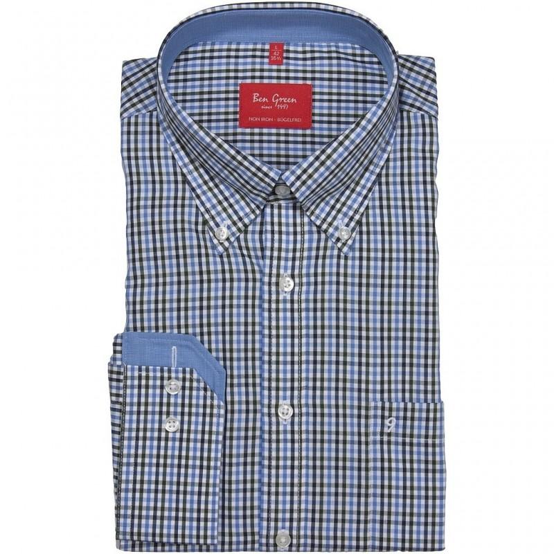 Non Iron koszula bawełniana w odcieniach błękitu, długi  FdhSf