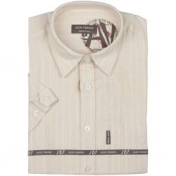 Lniana koszula męska z krótkim rękawem Aldo Vrandi Rozmiar L  z0xpq